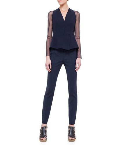 Tulle-Inset Woven Peplum Jacket & Melissa Double-Faced Slim Pants