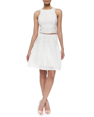 Sleeveless Lace Crisscross-Back Top & Lace Pleated Skirt