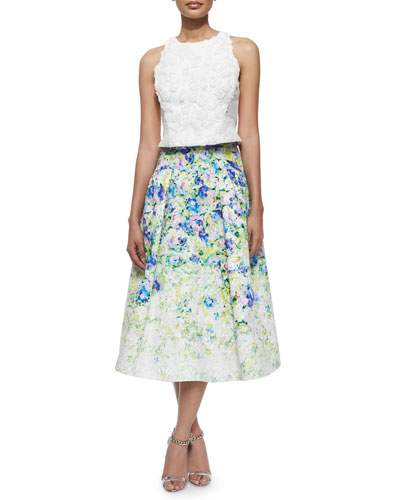 Sleeveless Rosette Crop Top & Floral-Print A-line Midi Skirt
