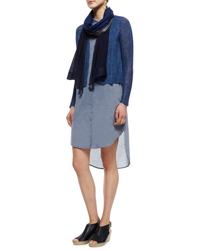 Linen Ribbed Crop Cardigan, Ombre Cotton Scarf W/ Tassels & Cotton Chambray Shirtdress
