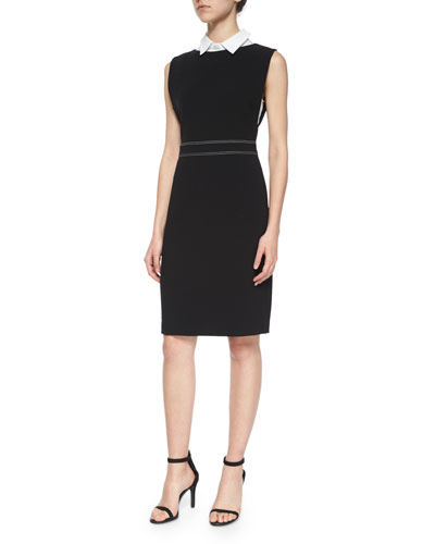 Minaeon Contrast-Trim Crepe Dress & Marbie Sartorial Collared Top