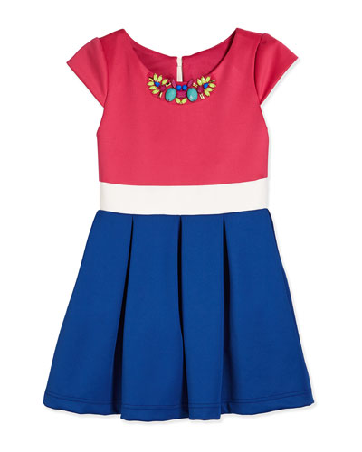 Cap-Sleeve Tricolor Scuba Dress, Pink/White/Royal