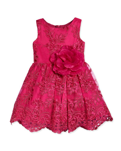 Embroidered Floral-Lace Dress, Pink