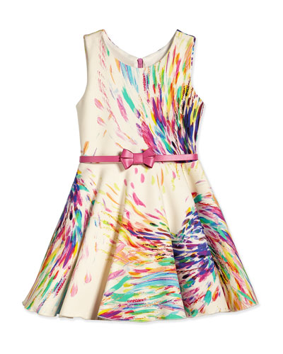 Sleeveless Firework Swing Dress, Cream/Multicolor