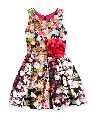 Floral-Print Scuba-Knit Dress, Multicolor