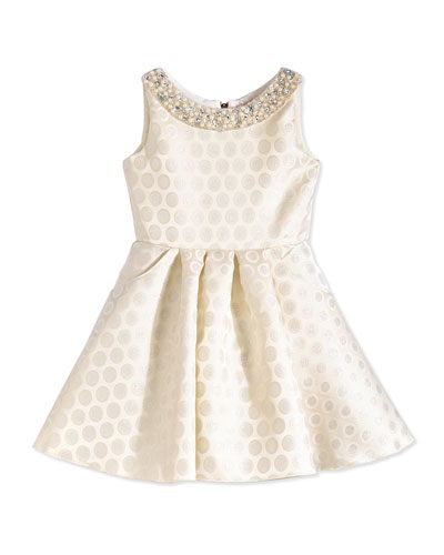 Polka Dot-Jacquard Swing Dress, Ivory/Silver