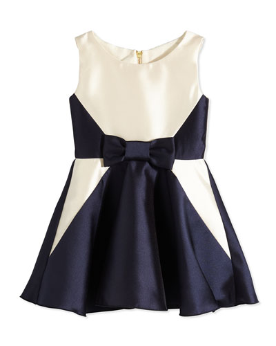 Satin A-Line Dress, Navy