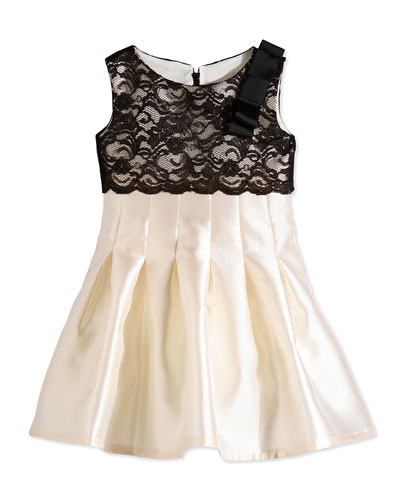 Cropped Lace & Satin Party Dress, Ivory/Black