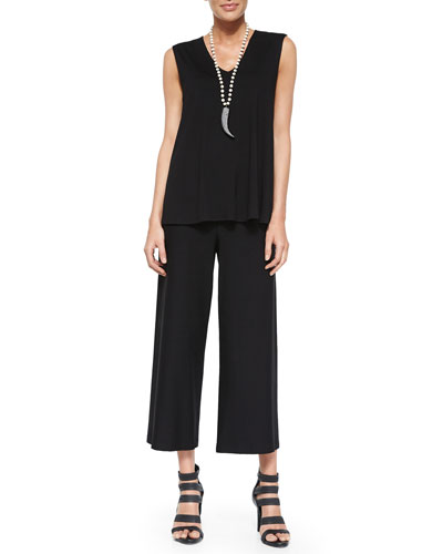 V-Neck Long Shell & Wide-Leg Washable-Crepe Cropped Pants, Women's