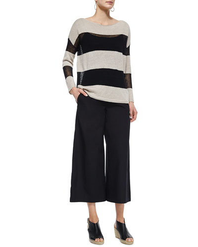 Fisher Project Linen Striped Box Top & Wide-Leg Cropped Pants