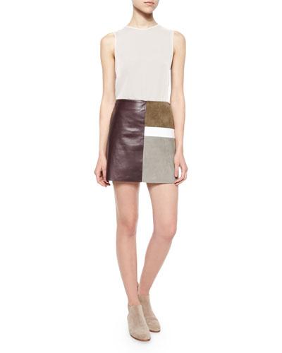 Bringam Sleeveless Top & Shanrial Patchwork Combo Skirt