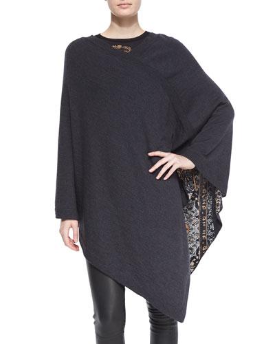 Reversible Wool Poncho & Long-Sleeve Paisley-Print Top