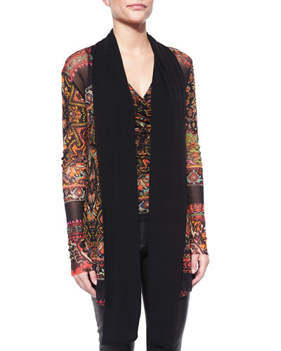 Black-Trim Printed Long Cardigan & Sleeveless V-Neck Printed Ruched Tee