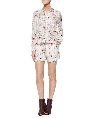 Long-Sleeve Floral-Print Blouse & Summer Shorts