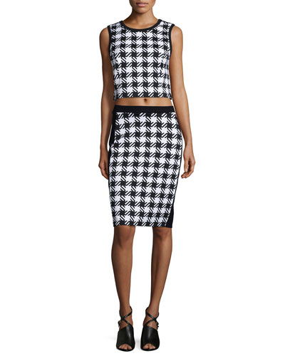 Elgin Houndstooth Crop Top & Pencil Skirt