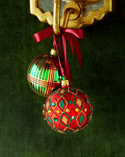 Diamond & Plaid Patterned Ball Christmas Ornaments