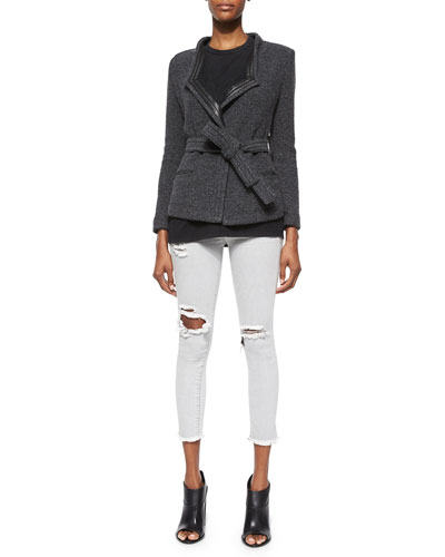 Cooley Tweed Belted Jacket, Leila Sleeveless Slash-Back Top & Jarod Ripped Denim Cropped Jeans