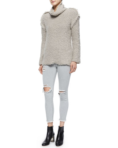 Cliffe Long-Sleeve Nubby Sweater & Ripped Denim Cropped Jeans