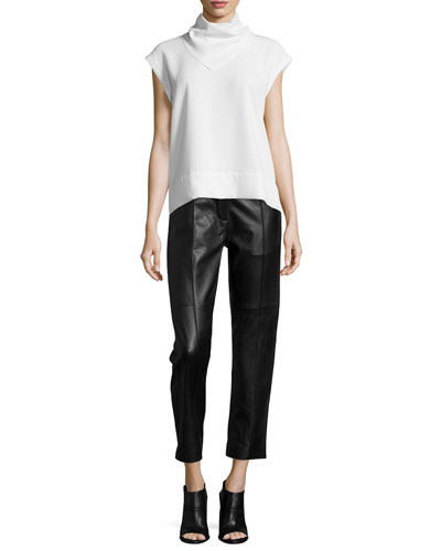Astrid Stand-Collar Belted Top & Great Lambskin Leather Ankle Pants