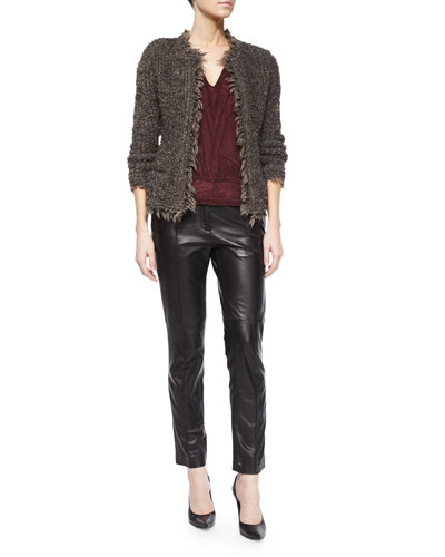 Coffey Fringe-Trim Shaggy Jacket, Brynn Embroidered Half-Sleeve Top & Great Lambskin Leather Ankle Pants