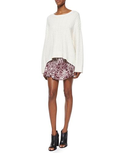 Long-Sleeve Oversized Spring Top & Adele Printed Shirred Skirt