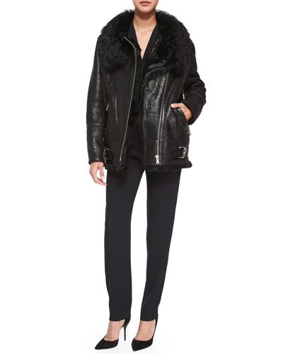 Barrett Long-Sleeve Fur-Trim Leather Jacket & Boyles Short-Sleeve Jumpsuit