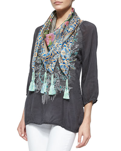 3/4-Sleeve Embroidered Blouse & Lowell Floral-Print Silk Scarf, Women