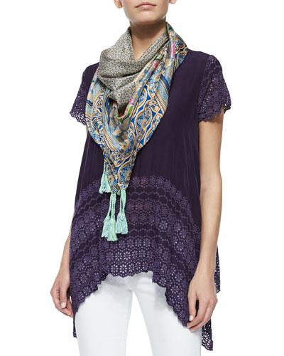 Short-Sleeve Eyelet-Trim Top & Lowell Floral-Print Silk Scarf, Women