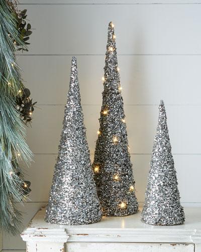 Blush Glitter Cone Trees
