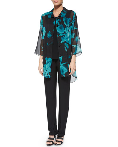 Caroline Rose Midnight Blossoms Chiffon Long Blouse, Long