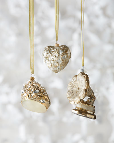 Baroque Heart & Gramophone Retro Christmas Ornaments