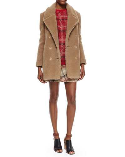 Double-Breasted Alpaca Peacoat, Long-Sleeve Jewel-Neck Plaid Sweater & Plaid A-Line Skirt
