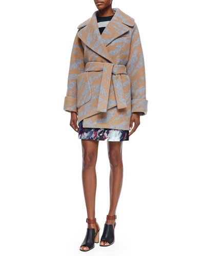 Long-Sleeve Oversized Printed Wrap Coat & Abstract-Print A-Line Skirt