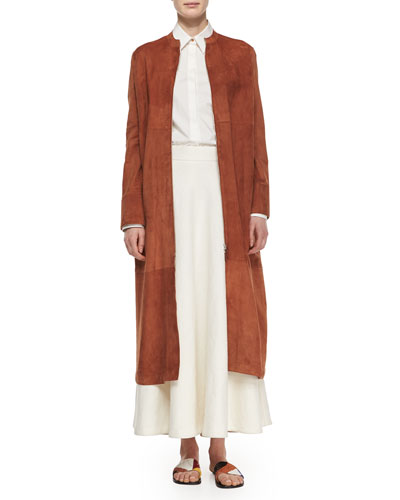 Collarless Suede Long Coat, Long-Sleeve Oversized Button Blouse & Linen Long Circle Skirt