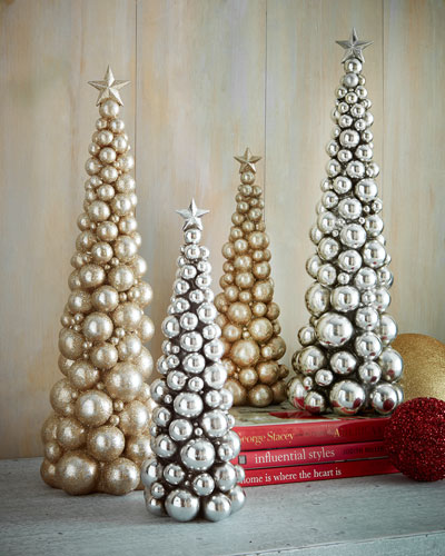 Silver-Ball & Gold-Glitter Christmas Trees