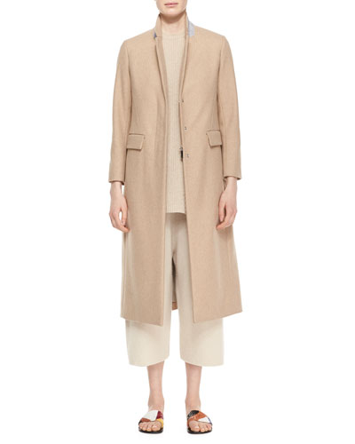 Classic Fitted Zip Long Coat, Sleeveless Merino/Cashmere Ribbed Top & Cropped Cashmere/Silk Sweatpants