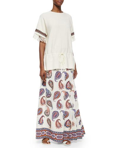 Sweater Tunic W/ Fringe Cuffs & Dapper Paisley-Print Maxi Skirt