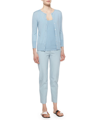 Button-Front Merino/Silk Cardigan, Tank & Double-Stretch Twill Cropped Pants