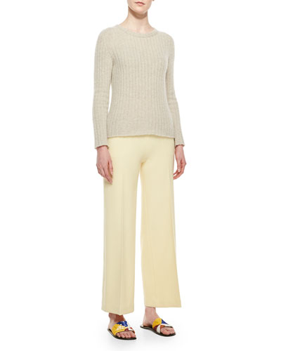 Ribbed Cashmere Sweater & Wide-Leg Stretch Wool Pants