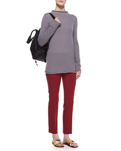 Long-Sleeve Fitted Fine-Knit Sweater & Skinny Side-Zip Pants