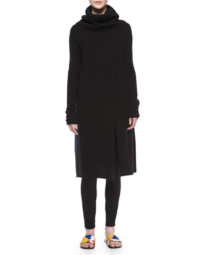 Turtleneck Slit-Front Long Cashmere Sweater & Scuba Jersey Leggings