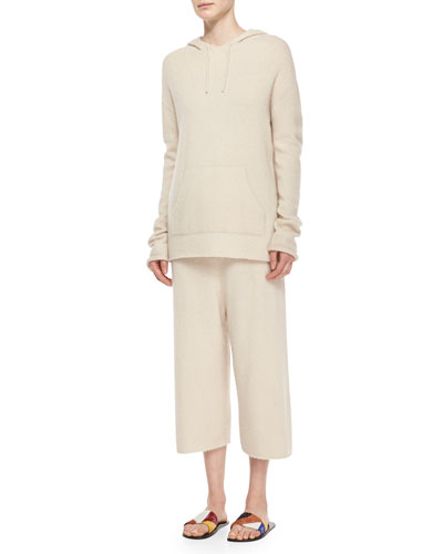 Long-Sleeve Cashmere/Silk Pullover Hoodie & Cropped Sweatpants