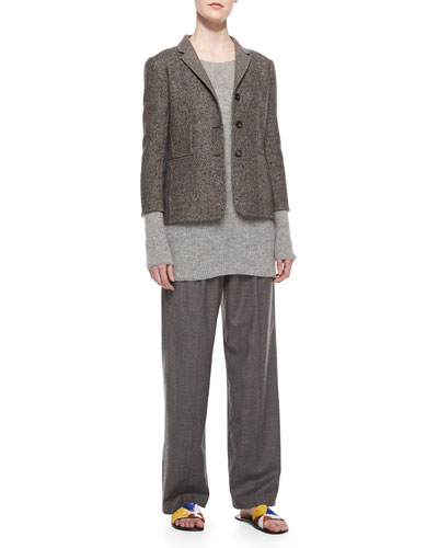 Double-Faced Tweed Jacket, Long-Sleeve Ribbed Cashmere/Silk Sweater & Pleated-Front Wide-Leg Pants
