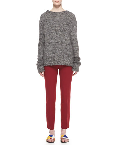 Long-Sleeve Tweed Sweater & Skinny Side-Zip Stretch-Wool Canvas Pants
