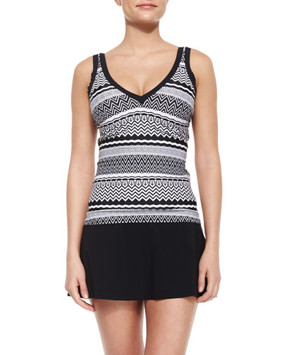 Pueblo Printed Tankini Swim Top & Tutti Frutti A-Line Swim Skirt