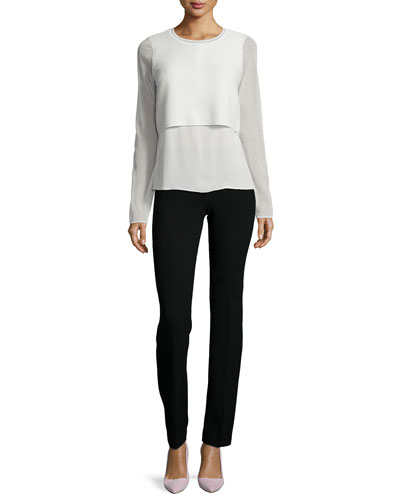 Juliana Sleeveless Placket Top & Rae Straight-Leg Pants