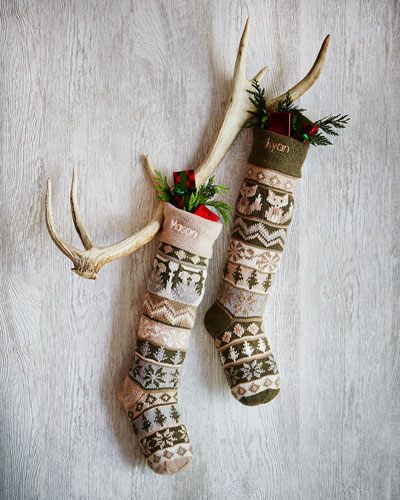 Owl & Cat Knit Christmas Stockings