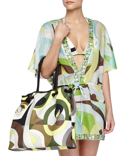 Contrast-Trim Printed Voile Coverup & Kaleidoscope-Print Large Canvas Bag