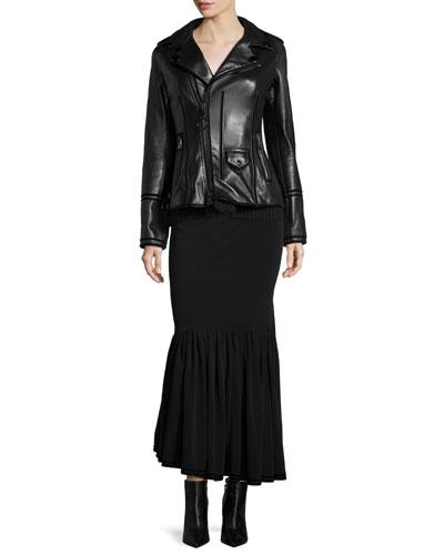 Asymmetric Leather Jacket, Velvet-Trimmed Woven Bustier & Velvet-Trimmed Slit Trumpet Skirt