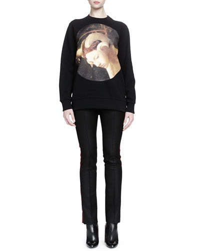 Visage Graphic Print Sweatshirt & Piped Side-Striped Slim Pants